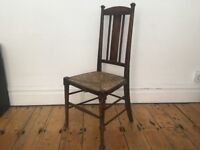 Antique Rush Seat Tall Handsome Chair