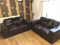2 Seater & 2 Seater Brown Faux Leather Sofas with 2x Small Cushions FREE LOCAL DELIVERY