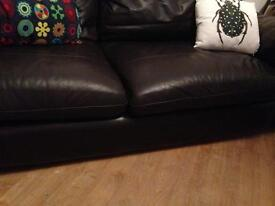 Chocolate brown leather settee and chair