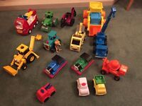 Collection of 14 toy vehicles including Fisher-Price, Thomas and Percy, and also Bob the Builder.