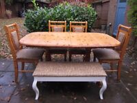 Large 6ft solid Pine Farmhouse 6/8/10 Seater table, 4 x Pine Chairs & Bench