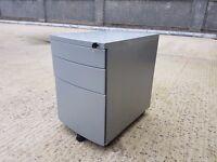 Office Pedestal 3 Drawer Metal Grey