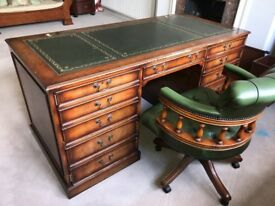 Replica Antique Writing Desk - Walnut and Green Leather