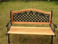 Beautifully refurbished solid oak cast iron garden benches