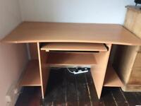 Desk with shelves and extendable work area