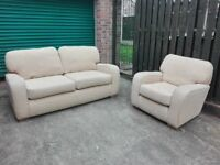 SALE! Fabric 2 seater sofa settee and chair ivory color in very good condition / free delivery