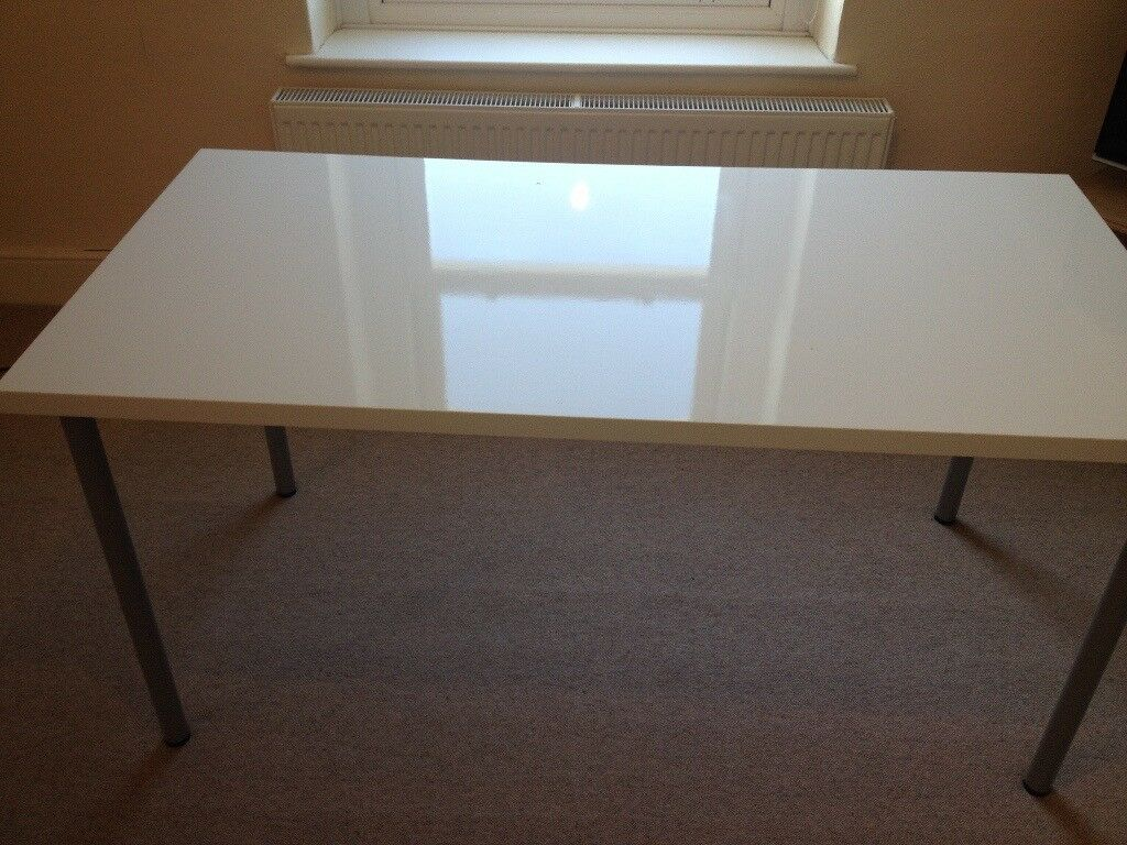 Ikea linnmon table workdesk white gloss finish in swansea gumtree