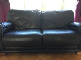 Leather sofa dark brown for sale x2