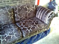 Four seater (grand) Derwent Parker knoll sofa and one chair dark brown with silver pattern