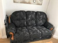 Brand new black material 3 piece suite