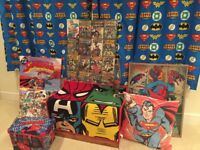 Superhero bedroom set. Spider-Man, superman Curtains, rug, canvas prints, lava lamp, clock, cushions