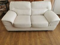 White Leather 2 Seater Sofa w/ cosmetic damage