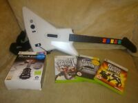 XBox 360 Guitar Hero X-Plorer guitar, games and Rocksmith game with 'real tone' cable