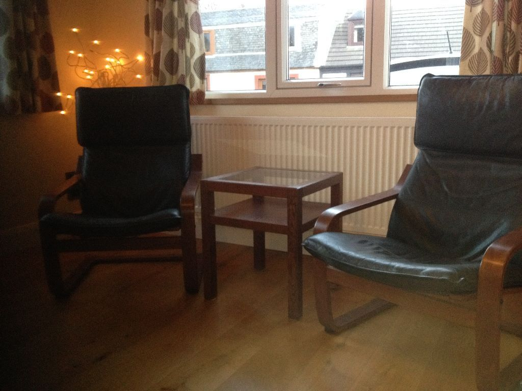 Ikea Poang Leather Chairs And Glass Side Table In Beith