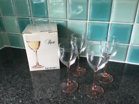 FRENCH LUMINARC VINTAGE ROSE STEMMED WINE GLASSES X 4 19cl