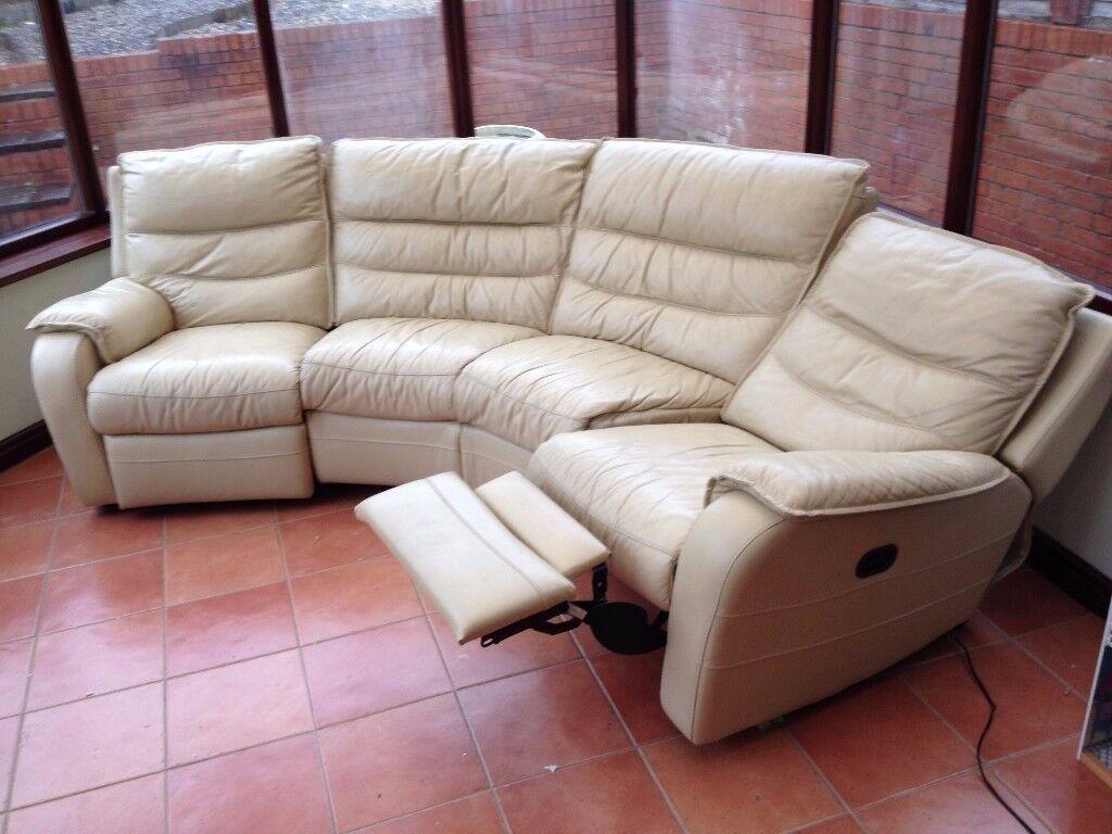 Cream Leather Corner Sofa Suite Electric Recliner
