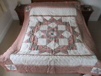 2 matching unused single cotton patchwork design bed-throws with matching pillow shams