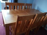 Solid wooden dinning table set six chairs