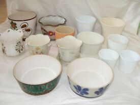 Ceramic Plant pots - Assortment of 14 mixed shapes/colours/sizes/textures (job lot).