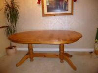 Oval Solid Pine Dining Table, Seats 6 -8