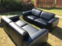 Black Leather Sofa & Coffee Table