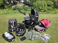 Nearly New bundle of icandy peach jogger stroller with accessories and two Maxicosi Car Seats
