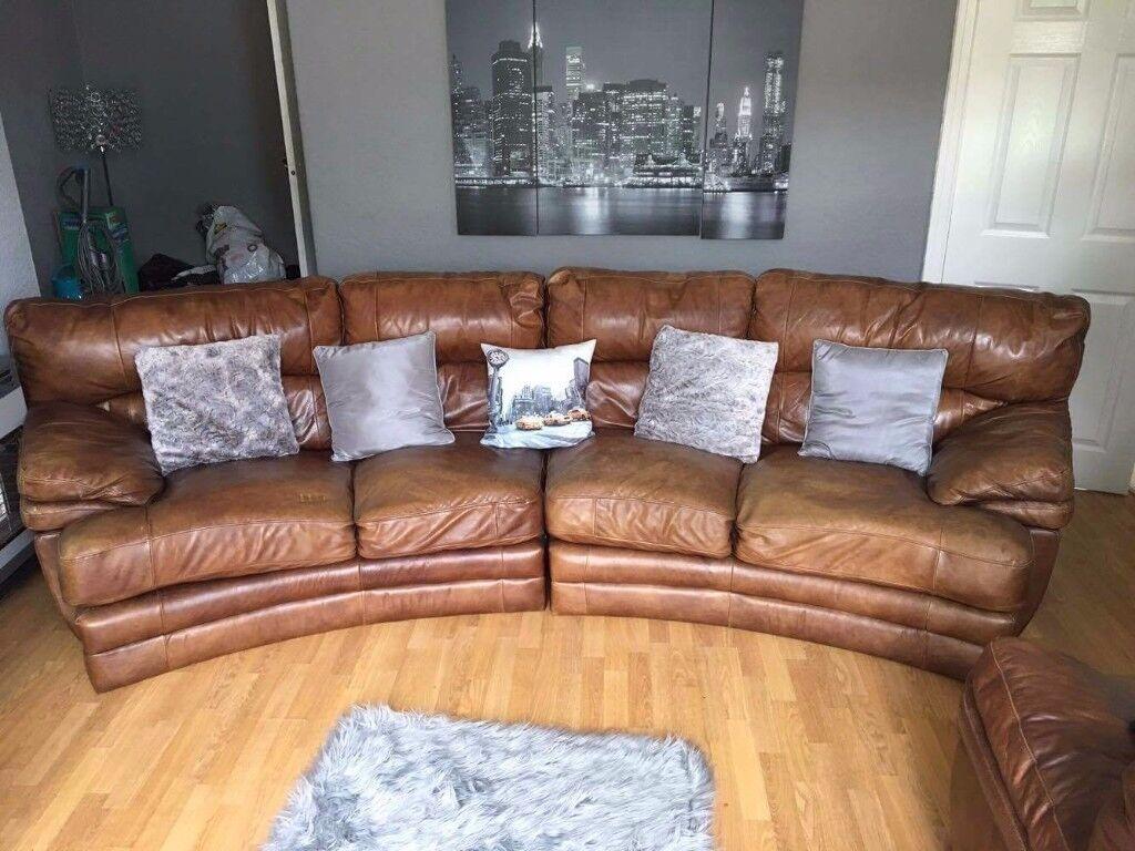Brown Italian Leather Sofa and Armchair