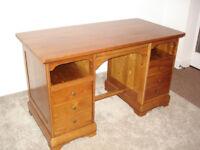 Twin pedestal cherrywood desk