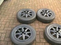 SET 4, 14 inch,4 stud,4 x 100,genuine renault,black,8 spoke alloys,ren centres,matching 165/65/14s