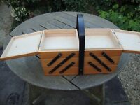 Wooden sewing box, 3 tier cantilever