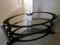 Tv television stand table glass unusual