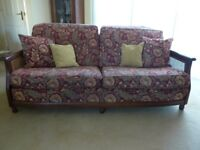 Ercol High quality wooden framed sofa and arm chair.