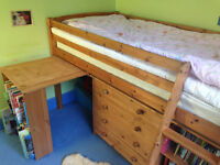 SOLID PINE MID SLEEPER BED WITH CHEST OF DRAWERS, BOOKSHELVES, PULL OUT DESK AND DEN SPACE UNDER BED