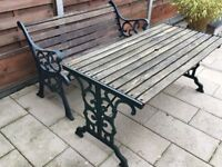 Cast iron table and bench set