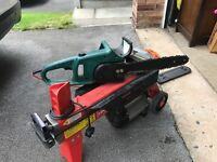 Hydraulic log splitter and electric chainsaw for sale excellent condition as new