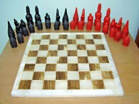 Vintage Alabaster & Onyx Marble Chess Board LARGE 36 x 36 cms