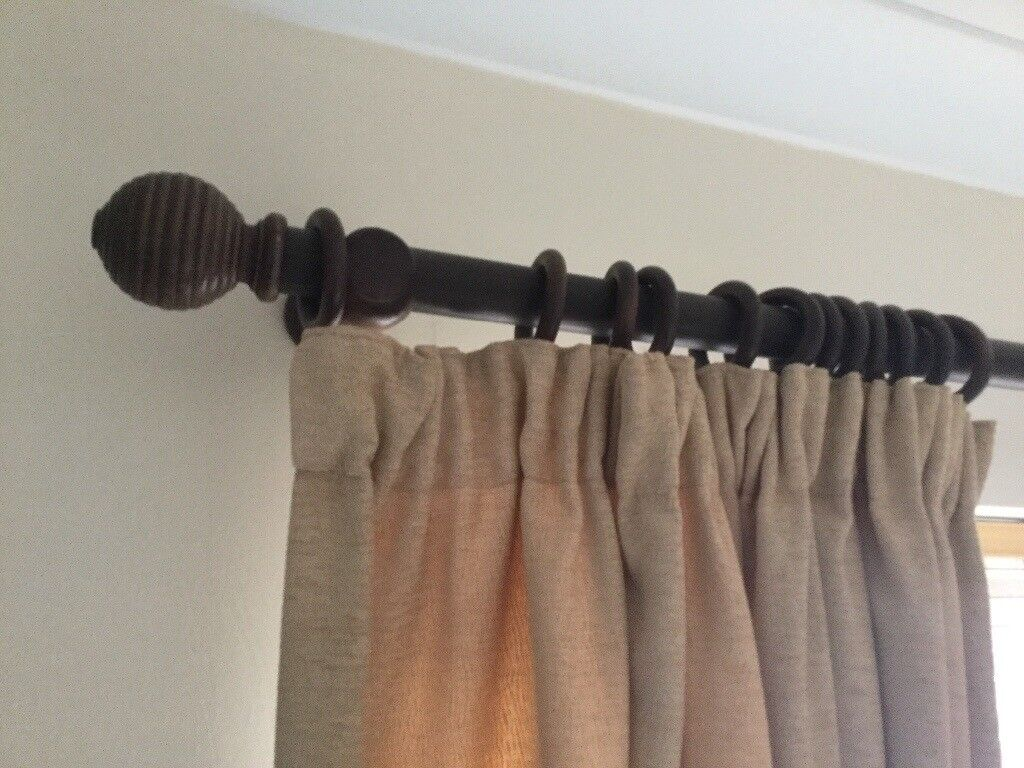 3 Wooden Curtain Poles Complete With Ends And Rings In