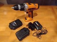 WORX Cordless drill 18V + 2 bateries + charger + hardcase