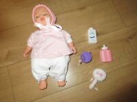 REALISTIC BABY DOLL for children - with accessories + fully clothed - in GOOD CONDITION