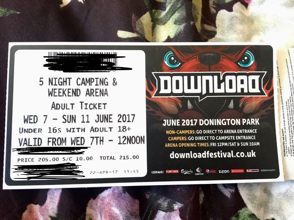 Download festival ticket. 5 day camping | in stourbridge, west.