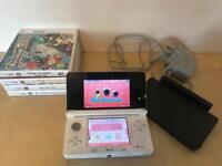 White Nintendo 3DS with 4 games
