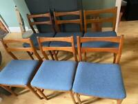 Six Teak William Lawrence Dining Chairs mid century