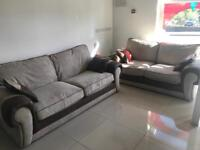 SCS Brown Leather and Fabric 3+2 Sofa