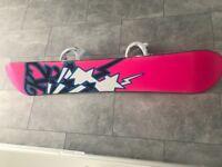 K2 snowboard with burton bindings
