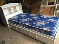 Twin mates bed, bookcase headboard, and mattress