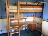 Flexa Classic Wooden High Sleeper Loft bed with large desk - near Epsom