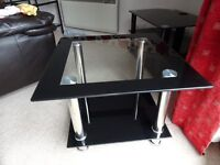BLACK GLASS COFFEE TABLE EXCELLENT CONDITION