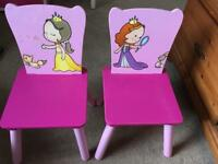 Little girls table and chairs x2
