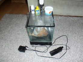Fish Tank with pump and starter kit accessories, collection only or delivery 1 mile distance