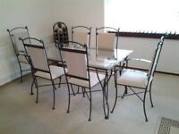 Wrought Iron Dining Table & 6 Chairs